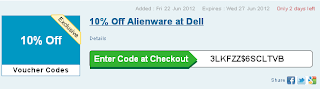 10% off alienware at dell until June 27 2012