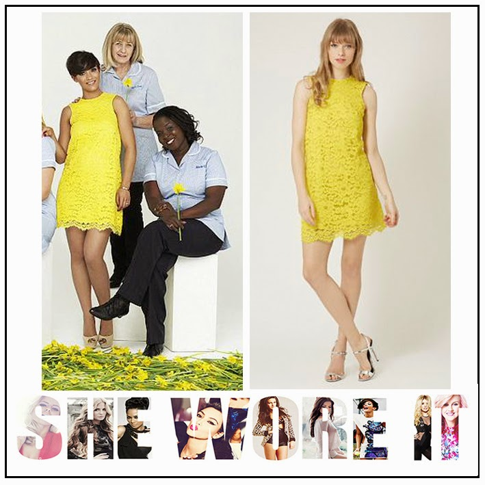 Back Detail, Bright, Celebrity Style, Dress, Floral Pattern, Frankie Bridge, Hem Detail, Keyhole Detail, Lace, Mini Dress, Scalloped Edge, Shift Dress, Sleeveless, The Saturdays, Topshop, Yellow,