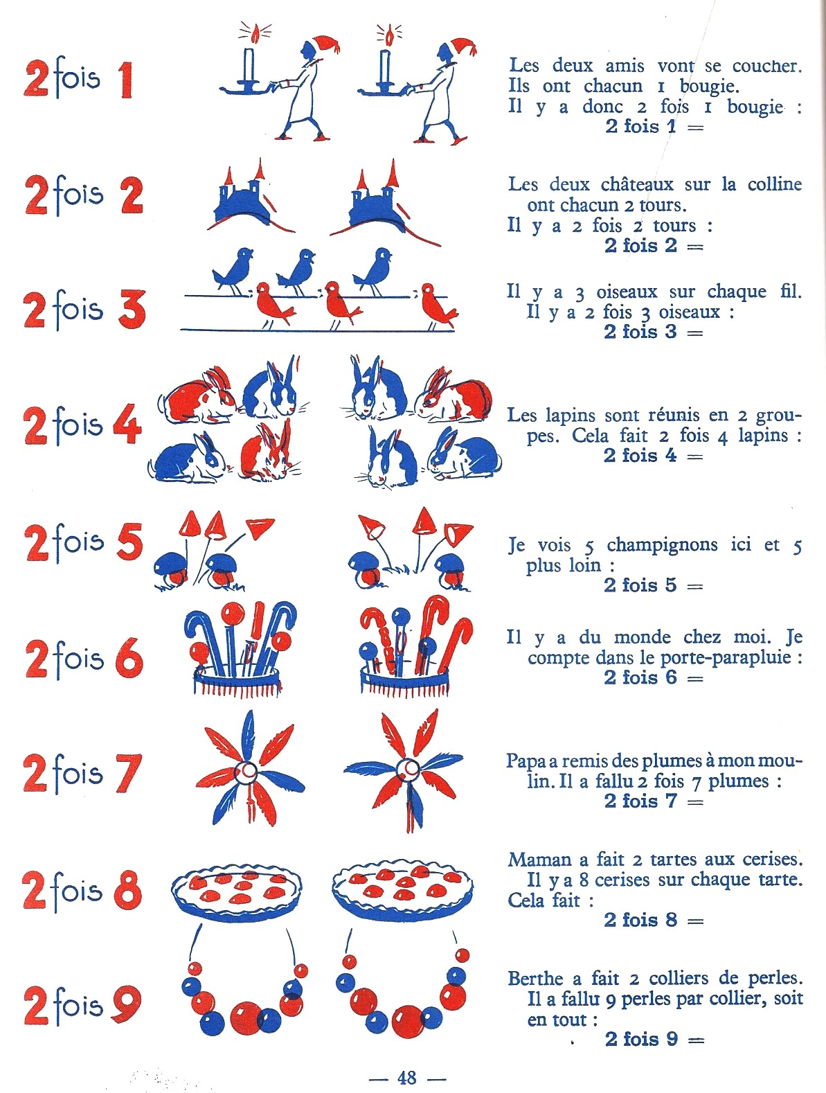Manuels anciens les tables de multiplication for Table de multiplication de 2 a 5
