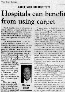 Carpet a Good Choice for Hospitals Says Werner Braun