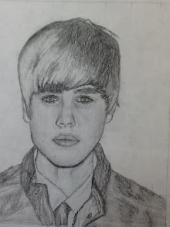 student`s artwork of what appears to be Justin Beiber
