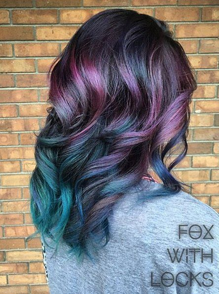 Trendy Oil Slick Coloring For Girls With Dark Hair Omg