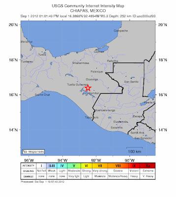 Epicentro sismo 5,4 grados, Chiapas, México, 01 de septiembre 2012