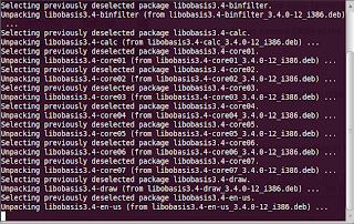 LibreOffice installing process running on terminal