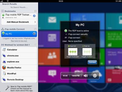 iTap RDP app for Ipad Iphone
