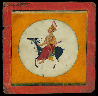 The moon-god, Chandra, who carries a sprig of some and rides an antelope Pahari painting