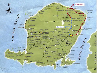 peta lombok, search google, perjalanan ke rinjani