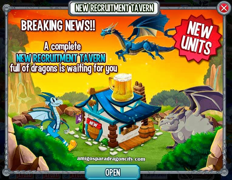 imagen de la nueva taberna de reclutamiento de dragon city