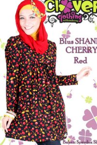 Clover Clothing Blus Shania Cherry - Red (Toko Jilbab dan Busana Muslimah Terbaru)