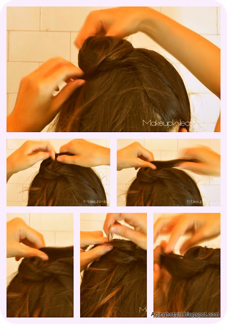 How to flower rose bun chignon on medium long hair for bridal look, wedding updos, upstyle homecoming prom
