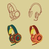 Vector of a vintage look headphones