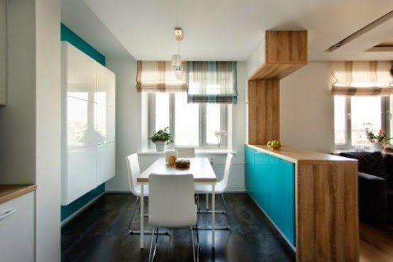 Cozy Moscow Apartment With Bold Turquoise Accents