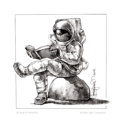 astronaut reading a book