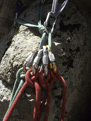 Multi-pitch rock-climbing caribeeners and ropes