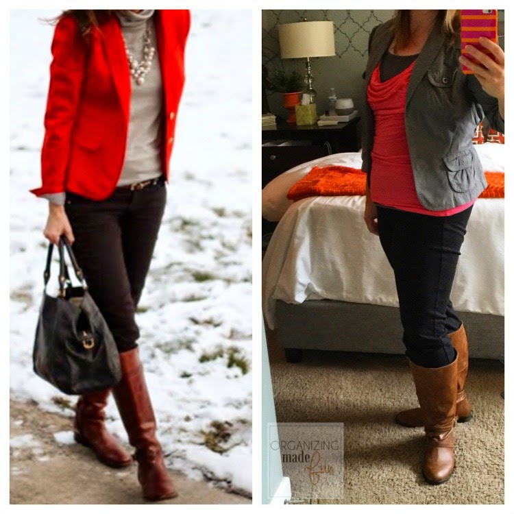 """Fashion Advice"" from an organizing blogger :: OrganizingMadeFun.com -- gray blazer, coral top, boots"