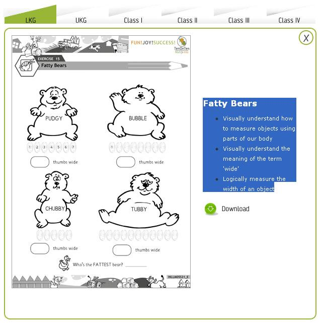 Free Math Worksheets Kindergarten 5 Visual Measurement Concept
