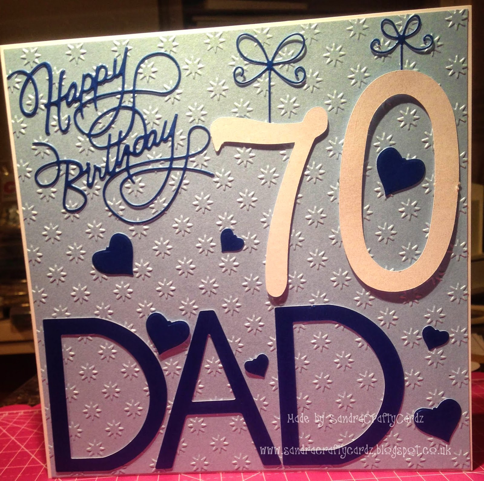 SandraCraftyCardz 70th Birthday Card made for a friends Dad