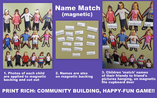photo of: preschool name recognition, early literacy with magnets, NAEYC best practice, Reggio reading games