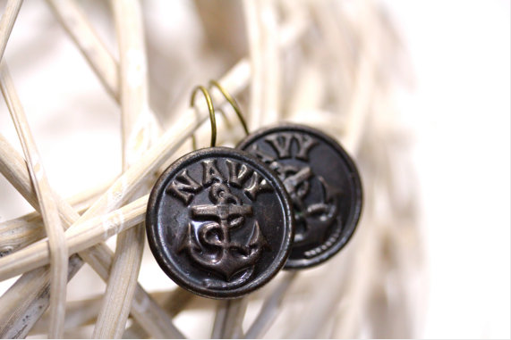 Vintage Naval Button Earrings #vintage #navy #military