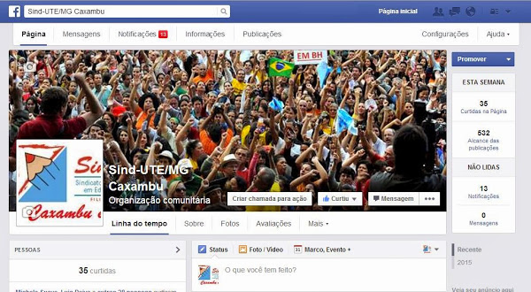 Página oficial do Sind-UTE/MG Caxambu no Facebook
