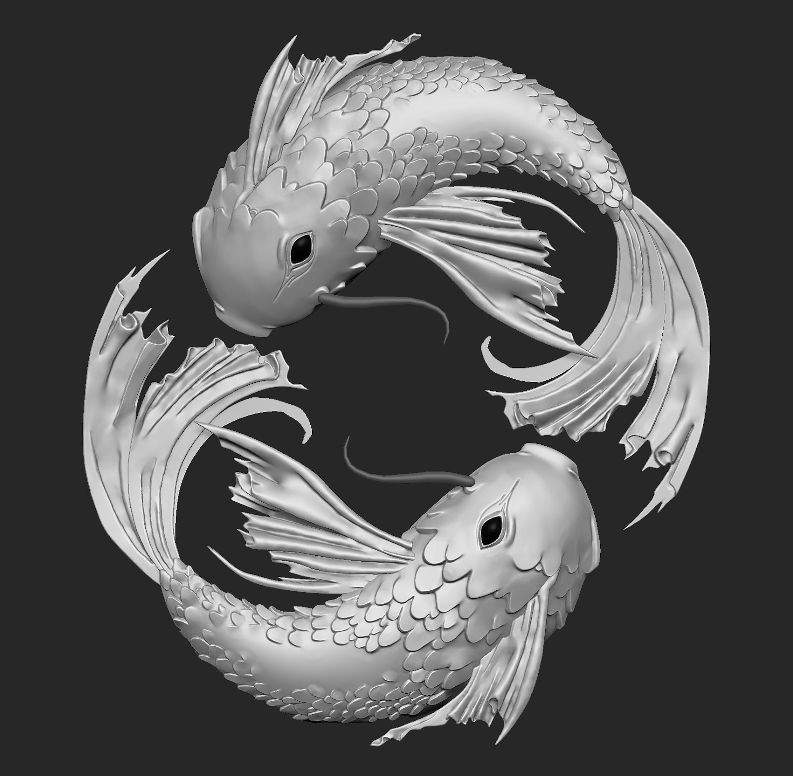 Jonathan flanders pisces w i p for Koi fish pisces