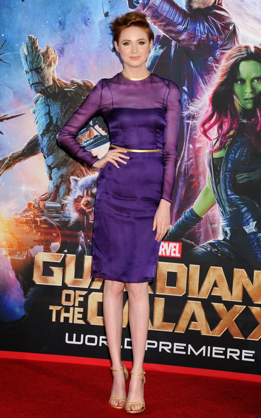 Karen Gillan wears purple Prada for the 'Guardians of the Galaxy' LA premiere