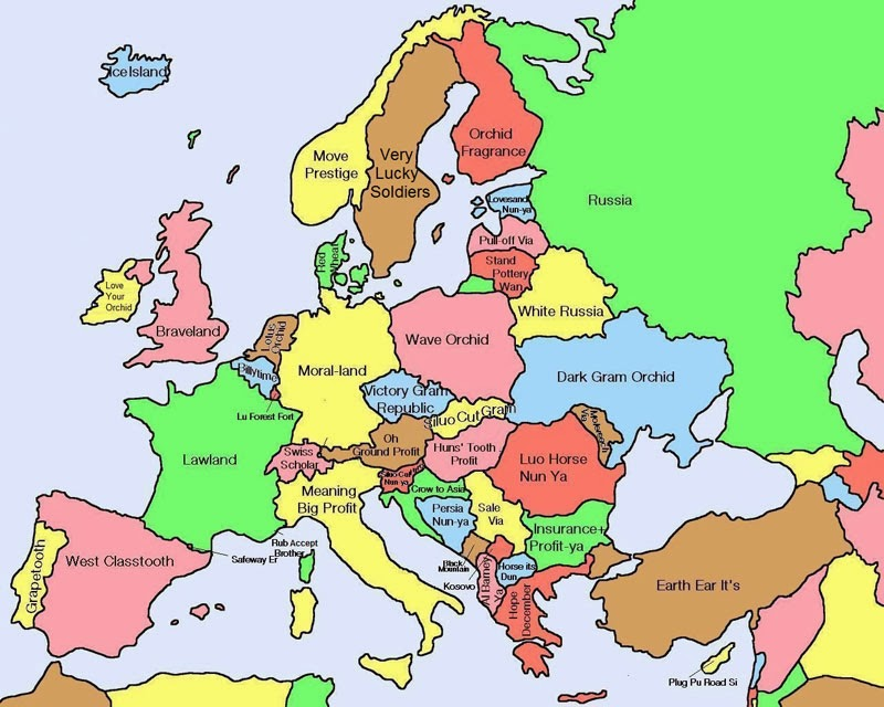 40 Maps That Will Help You Make Sense of the World - Map of Europe Showing Literal Chinese Translations for Country Names