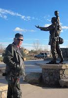 Tim at statue