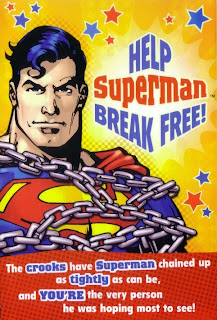 Front of Superman chained birthday card 2014 from Hallmark