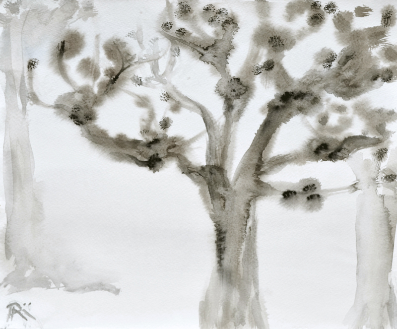 minimal tree painting, watercolor art, earth tones, grey and white, winter tree, nature painting