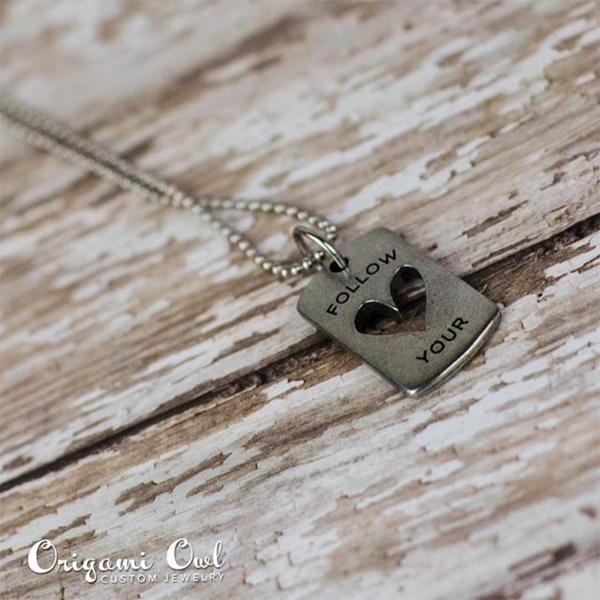 Origami Owl Tagged Follow Your Heart Necklace