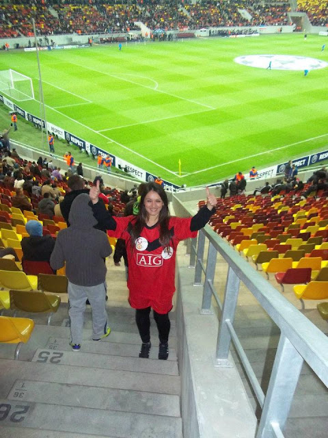 Marija in a Champions League match of Manchester United