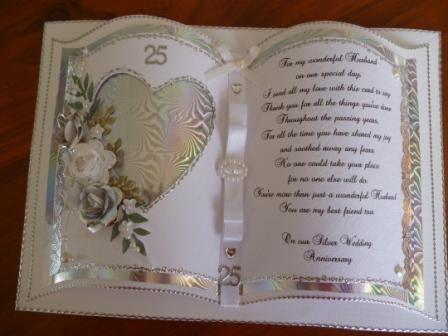 Handcrafted By Helen Silver Wedding Anniversary Card