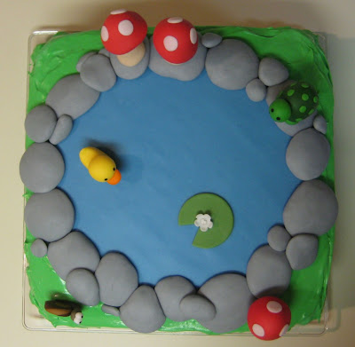 Pond Cake with Animals and Mushrooms - Overhead View