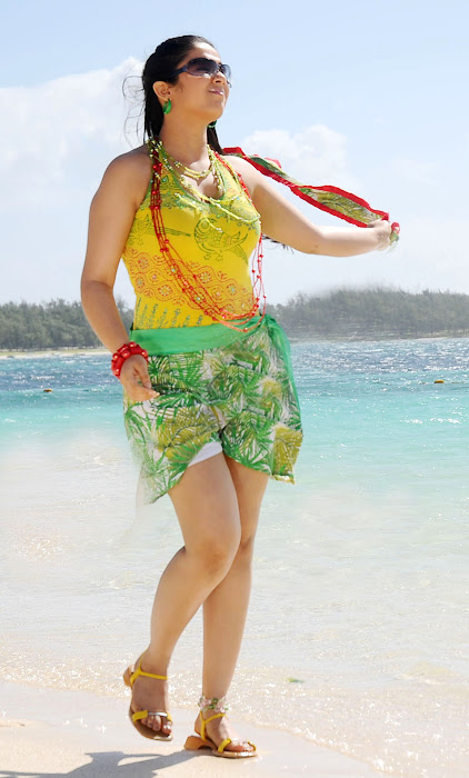 Charming in  Short Skirt playing near a beach, Milky Thighs