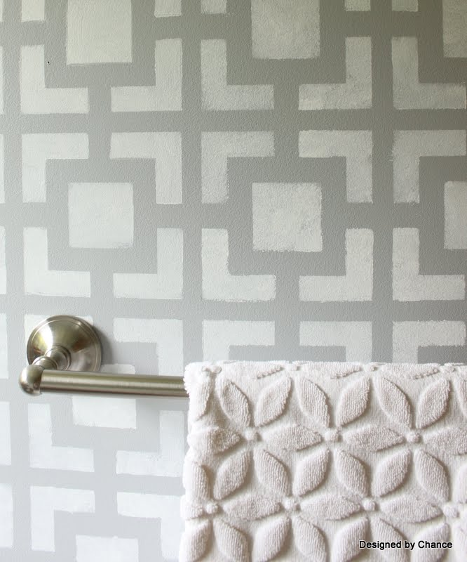 Stenciled Bathroom Wall