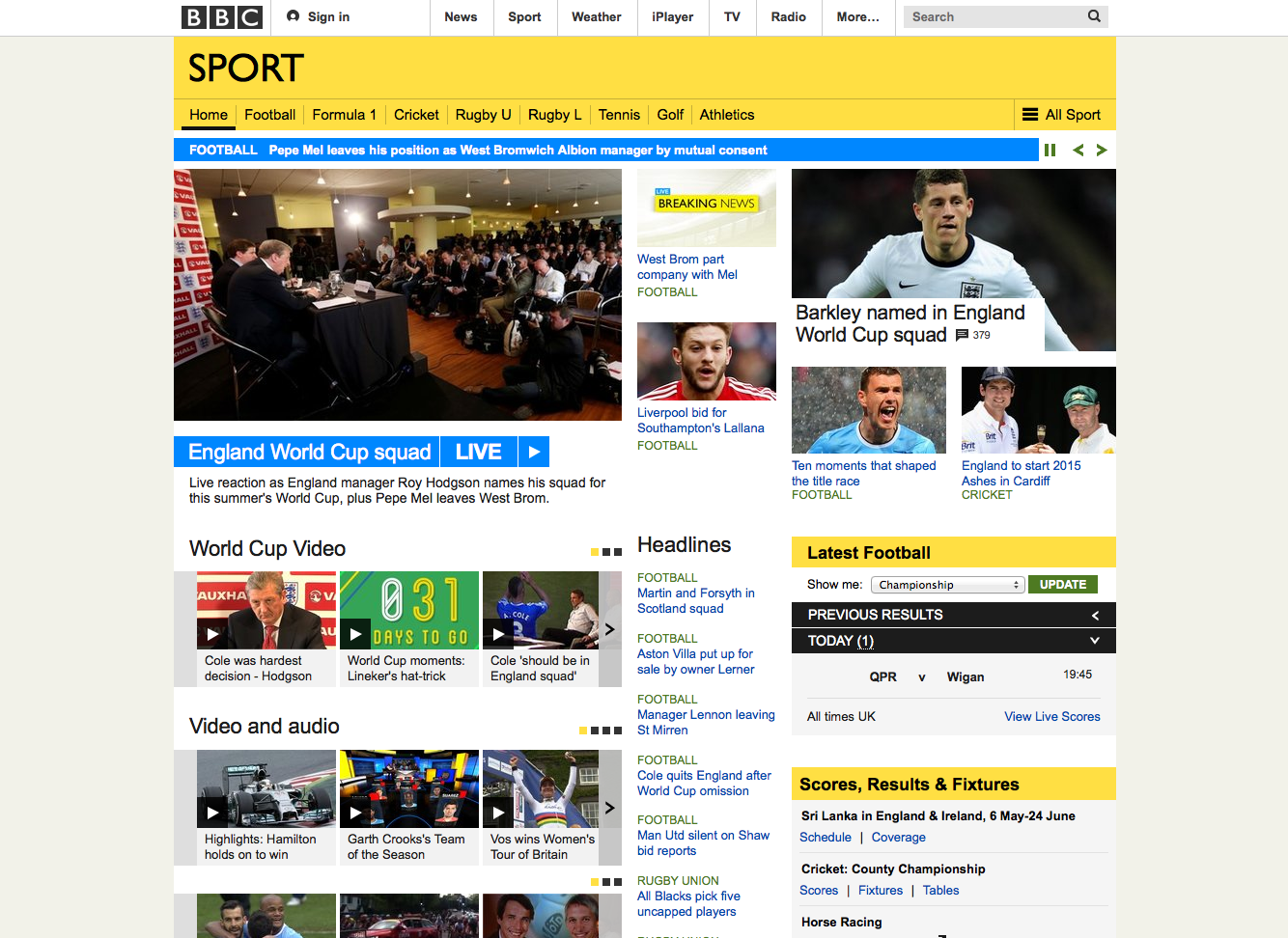 BBC Sport Re-Design