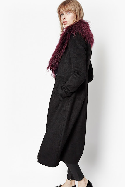 french connection wonderland coat, burgundy fur collar black coat,