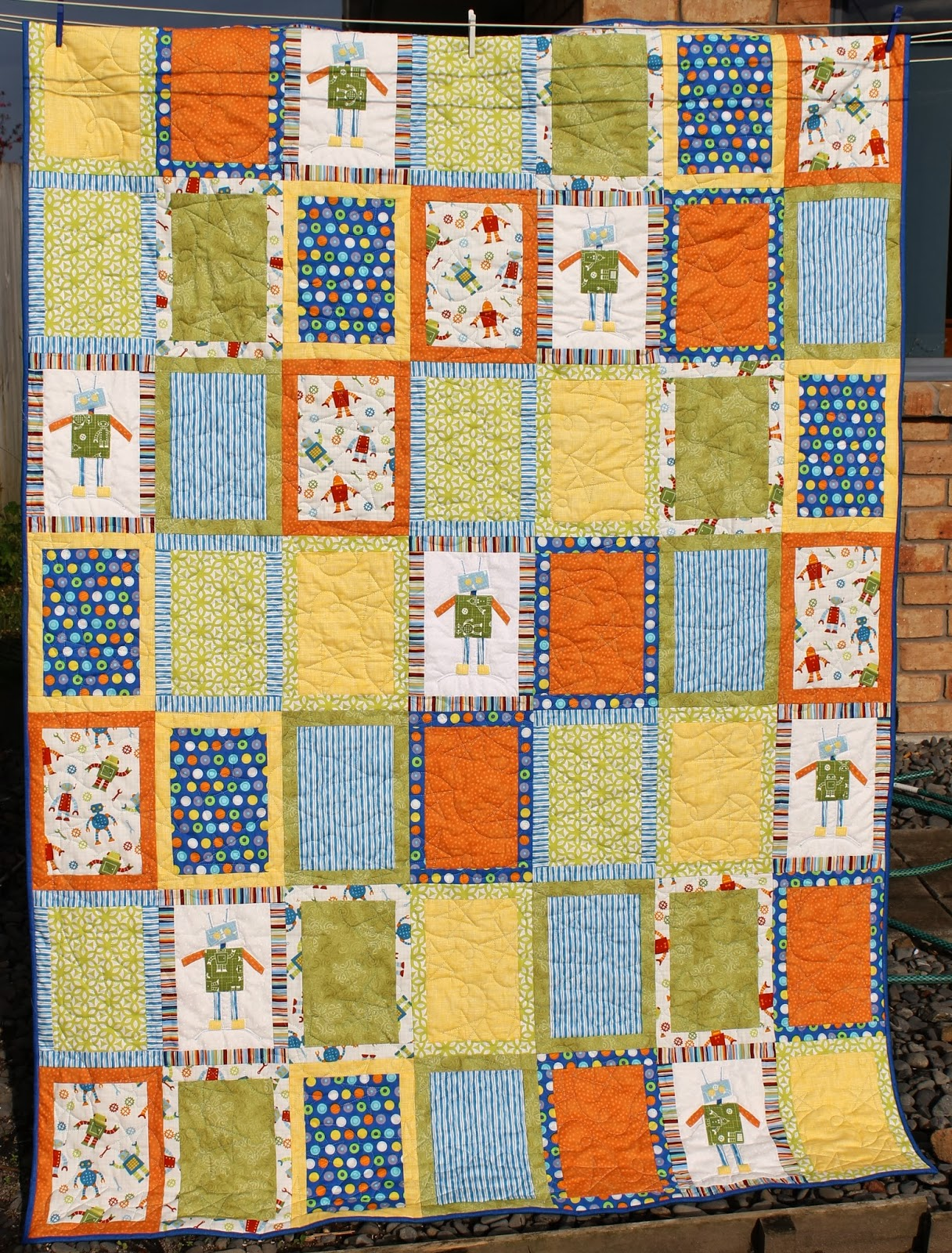 A slice in the life of julie a robot quilt for Robot quilt fabric
