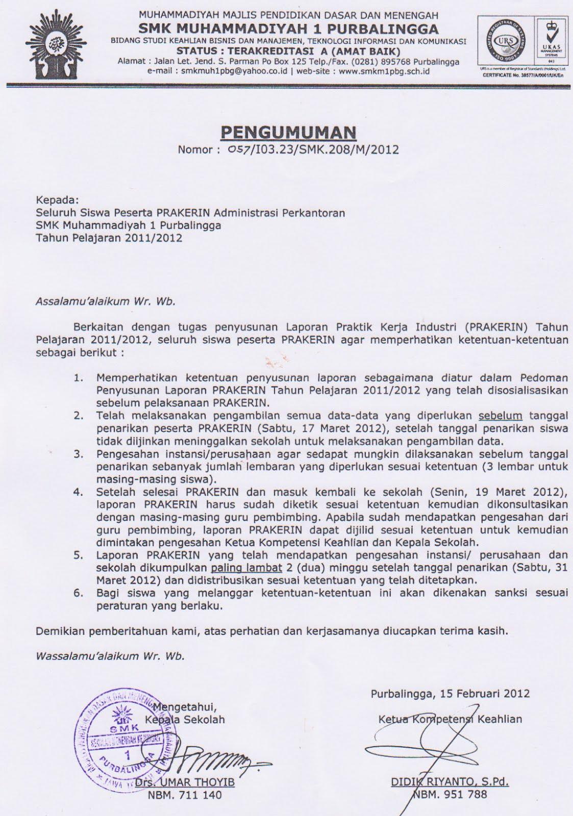Contoh Laporan Pkl Smk Ap Administrasi Perkantoran Share The Knownledge