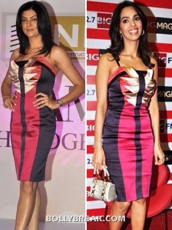Sushmita and Mallika in pink and plum knee length pencil dress  - (4) - Who looks better ??
