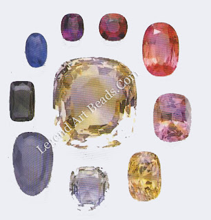 RICH COLOURS Pure corundum is colourless, but tiny amounts of impurities are responsible for a wide range of rich colours: chromium (red), iron (yellow and green), and iron and titanium (blue).
