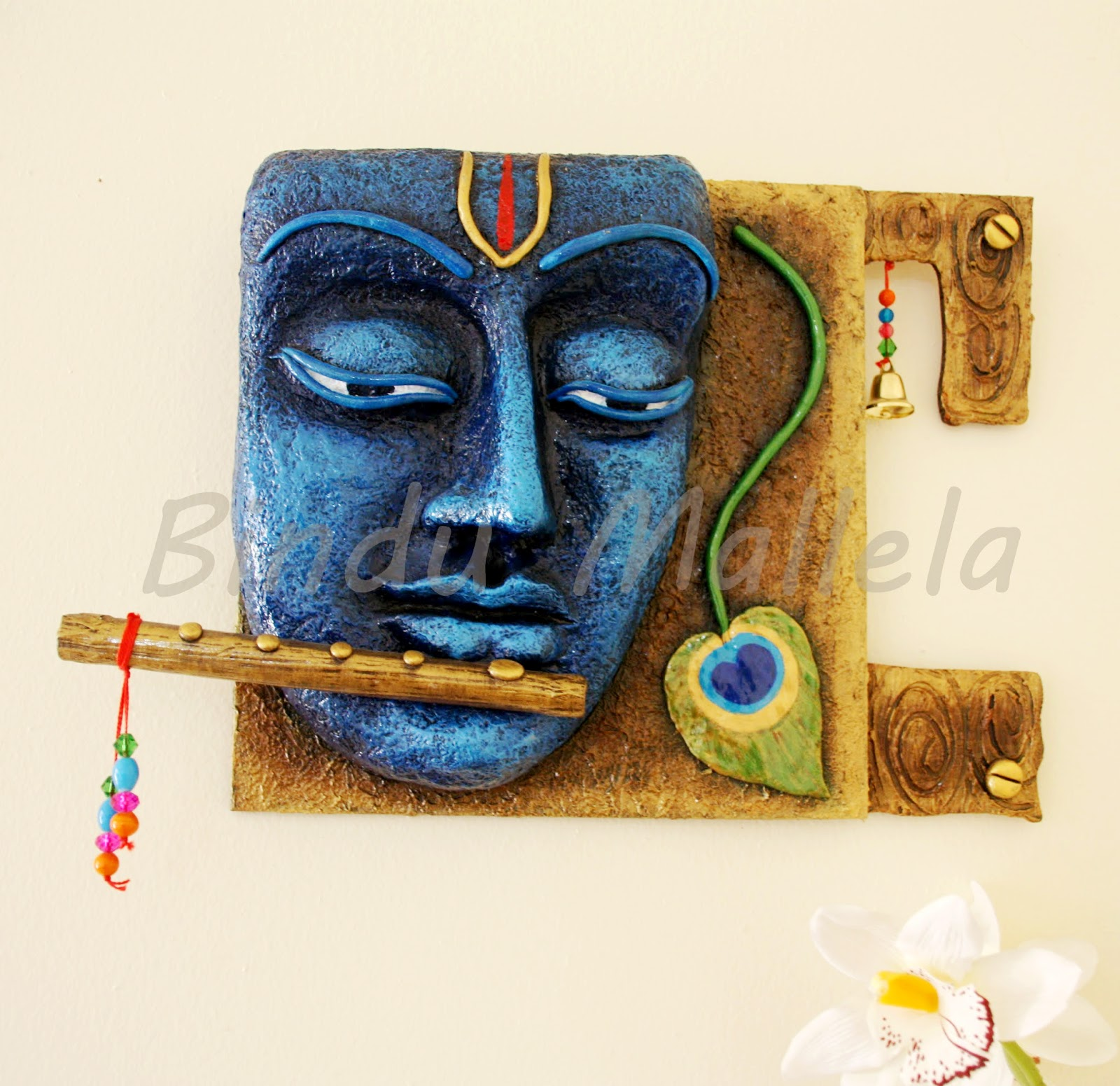 Crazy for colors krishna 3d mural for Clay mural designs