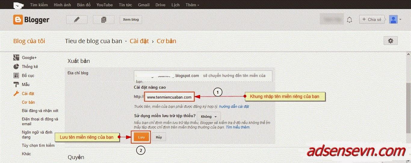 Hướng dẫn thêm tên miền riêng trên Blogger (Blogspot)