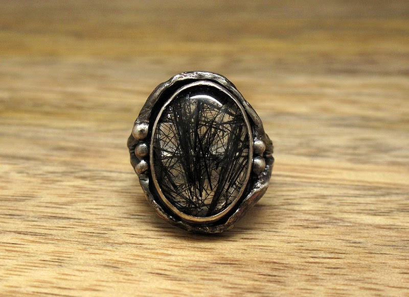 Harlequin&Lionhead handmade jewelry - custom made sterling silver and rutilated quartz ring