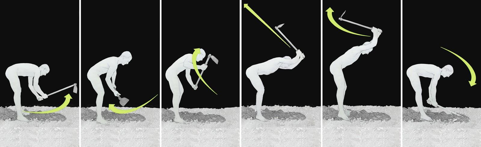 cavar, secuencia, accion