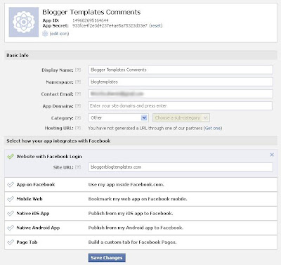 facebook application for blog comments