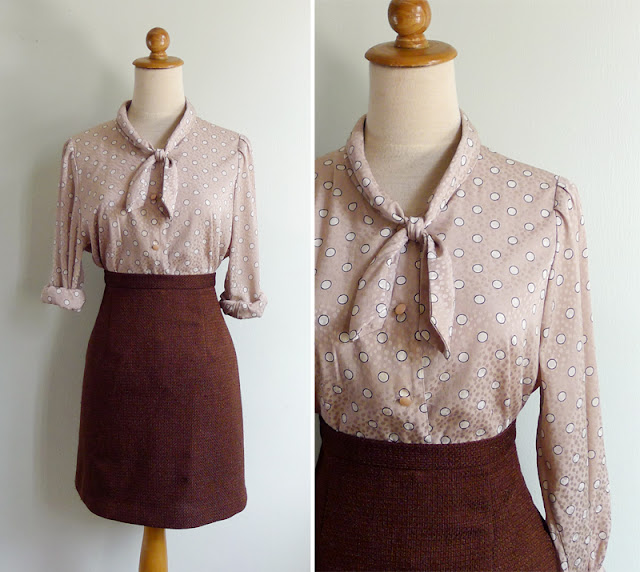 vintage ascot pussy bow beige blouse