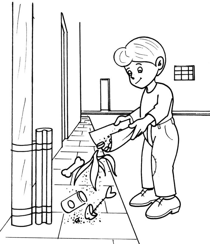 Niño tirando basura para colorear - Imagui