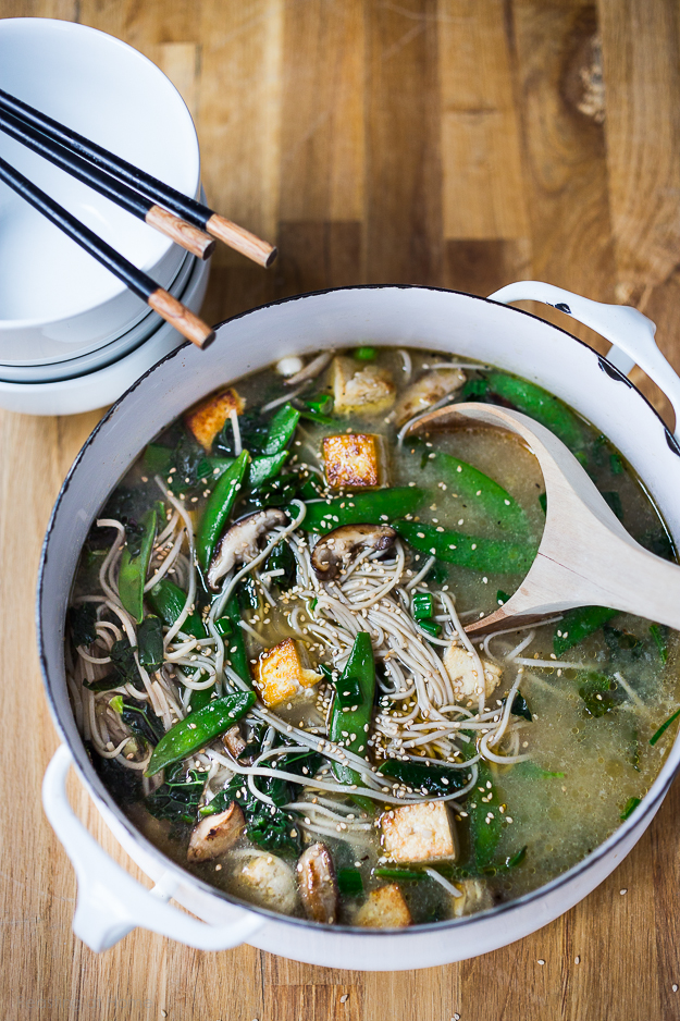 Soba Noodle Soup with Shiitakes, snow peas and tofu. Vegan and GF |www ...